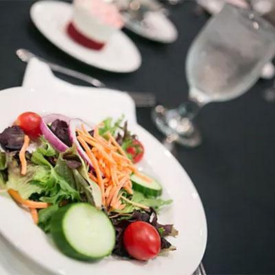 salad, dessert, water glass
